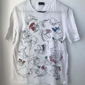 Lanvin Tops - LANVIN signed white Tee parrot print